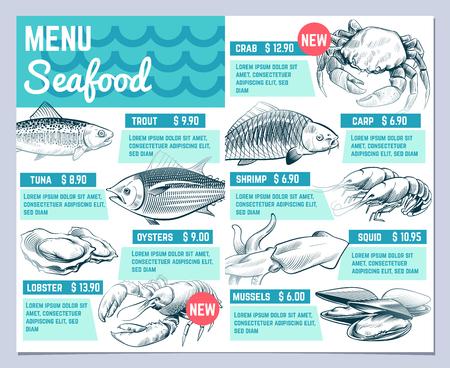 Fish restarant menu. Hand drawn fishes lobster and crab seafood restaurante vintage design vector template. Illustration of fish menu crab and shrimp, oyster and carp Ilustração