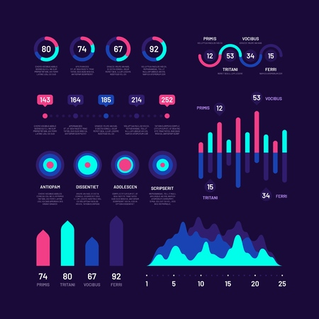 Infographic elements. Bar graphs marketing infographics, pie charts, options workflow diagrams with percent, circle diagram vector set. Presentation report data, business color wave chart illustration
