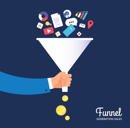 Sale funnel. Lead management optimisation and generation. Leading technology and media marketing. Sale conversion vector concept. Funnel marketing strategy, process and optimization illustration