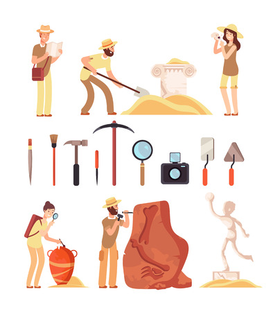 Archeology. Archeologist people, paleontology tools and ancient history artifacts. Vector cartoon isolated set. Illustration of archaeological instrument and discover Foto de archivo - 111423260