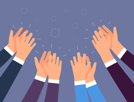 Applause. People hands clapping. Cheering hands, ovation and business success vector concept. Illustration of applause hand, clapping ovation Stock Photo