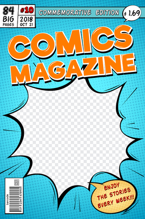 Comic book cover. Retro cartoon comics magazine. Vector template in pop art style. Magazine cartoon book, commemorative edition illustration Illustration