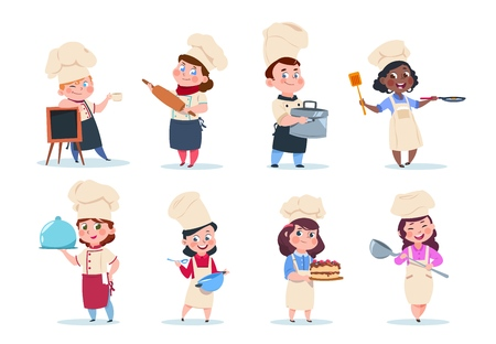 Cocine a los niños. Comida de preparación de niños jefe de dibujos animados. Conjunto de vector de clase de cocina. Ilustración del hijo principal, niños con comida. Ilustración de vector