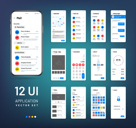 Screen wireframes. Mobile interface app wireframe kit. Ui vector templates. Application ui, weather and clock, email and alarm illustration