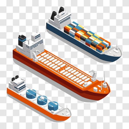 Modern cargo ships isometric vector design. Set of transportation ships isolated on transparent background. 3d ship freight in sea, shipping and logistic marine transportation illustration