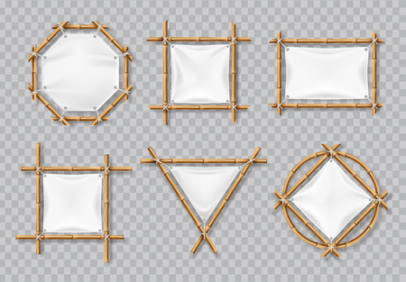 Bamboo frames with white canvas. Chinese bamboo signs with blank textile banners. Isolated vector set. Illustration of bamboo frame, banner empty placard for message Ilustrace