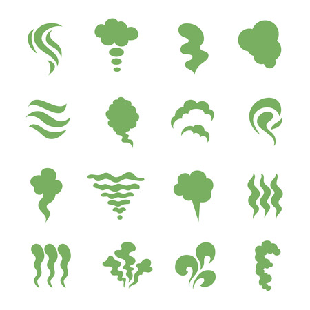 Smell icons. Steaming stench, vapor and cooking steam. Green expired food odor isolated symbols. Green smell smoky, aroma mist and shitty toxic illustration