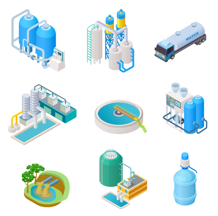 Waterzuiveringstechnologie. Isometrisch behandelingswater industrieel systeem, afvalwaterafscheider vector geïsoleerde set. Isometrische zuivering en afscheiderwater, illustratie van reservoirapparatuur Vector Illustratie