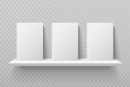 White books on bookshelf. Empty school textbooks in modern office interior vector mockup. Bookshelf for library, shelf for books education illustration