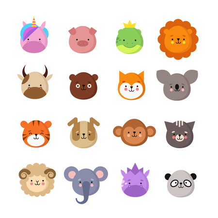 Cute animals faces. Dog and cat, cow and fox, unicorn and panda. Animal kid emoji. Kawaii zoo vector collection of sheep and monkey, cat and tiger, koala and bear illustration Banque d'images - 111225531