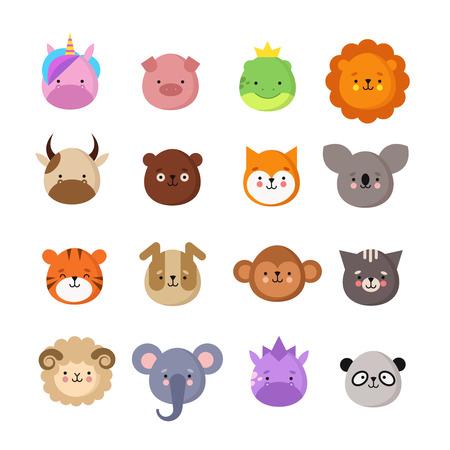 Cute animals faces. Dog and cat, cow and fox, unicorn and panda. Animal kid emoji. Kawaii zoo vector collection of sheep and monkey, cat and tiger, koala and bear illustration Illustration