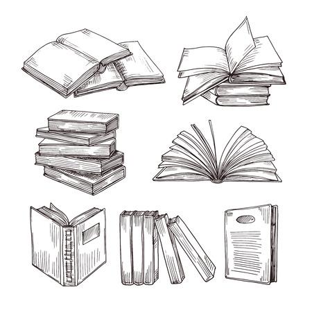 Cuadernos de dibujo. Tinta dibujo vintage libro abierto y pila de libros. La educación escolar y la biblioteca doodle símbolos vectoriales. Bosquejo del libro de educación, pila de ilustración de dibujo de literatura Ilustración de vector