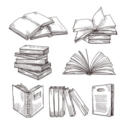 Sketch books. Ink drawing vintage open book and books pile. School education and library doodle vector symbols. Education book sketch, pile of literature drawing illustration Vetores