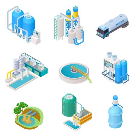 Waterzuiveringstechnologie. Isometrisch behandelingswater industrieel systeem, afvalwaterafscheider vector geïsoleerde set. Isometrische zuivering en afscheiderwater, illustratie van reservoirapparatuur