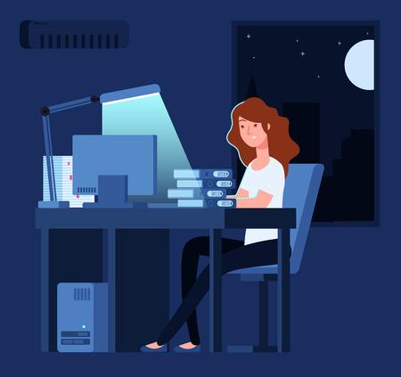 Femme travaillant la nuit. Une femme malheureuse et stressée travaille en retard au bureau avec des documents et un concept de vecteur informatique. Femme travailleuse nuit, illustration surmenée et malheureuse