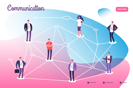 Network connecting professional people. Global communication teamwork connection and networking technology vector concept. Connection people cyberspace, cooperation and communication illustration