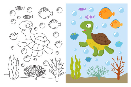 Turtle coloring pages. Cartoon swimming sea animals underwater. Vector illustration for kids coloring book. Underwater sea, turtle animal and fish Illustration