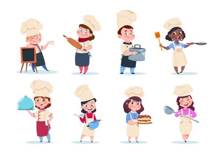 Cuisinez les enfants. Repas de préparation des enfants en chef de dessin animé. Ensemble de vecteurs de cours de cuisine. Illustration de l'enfant en chef, des enfants avec de la nourriture
