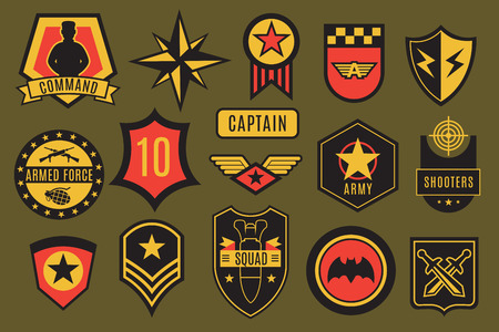 Army badges. Usa military patches and airborne labels. American soldier chevrons with typography and star vector set. Illustration of armed shield and emblem, army and military patch