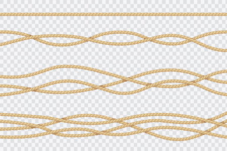 Realistic rope set. Nautical textured cords. Close up sailors strings vector 3d isolated collection. Cable cord, string fiber nautical, line connection twisted illustration