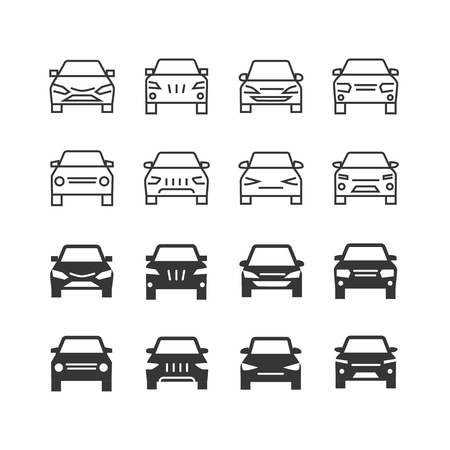 Autos front view line and silhouette vector icons. Illustration of auto vehicle front, automobile and car outline