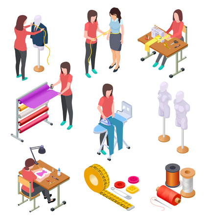 Sewing factory isometric set. Textile clothing manufacturing with workers and machinery. Industrial sewing 3d collection. Tailoring and designer, mannequin and seamstress handmade illustration Vektorové ilustrace