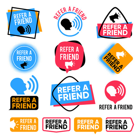 Refer a friend. Referral, friends shopping marketing attention vector badges with megaphone. Illustration of recommend referral and advertising recommendation