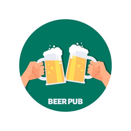 Beer pub vector icon design. Two hands holding beer glasses. Illustration of beer drink, pub emblem