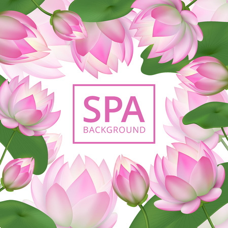 Pink lotus flowers background. Invitation healing to garden. Lotus wedding card vector template. Lotus flower pink, floral and nature banner for spa illustration