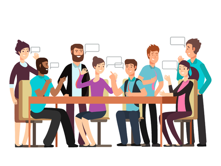Cartoon character business team have conversation. Woman and man at morning meeting. Illustration of discussion and talk, speech talking brainstorm Ilustrace