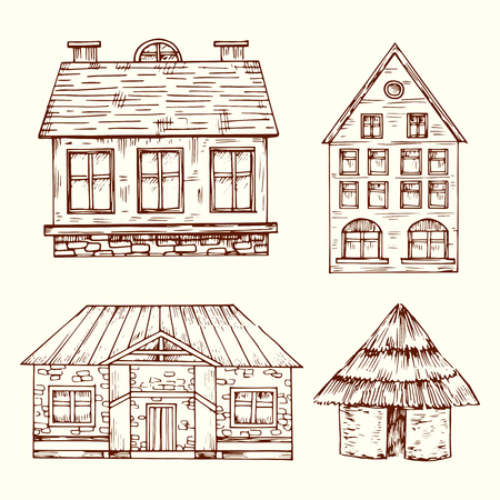 Different style hand drawn houses vector set. House with roof and window, architecture building home illustration Çizim