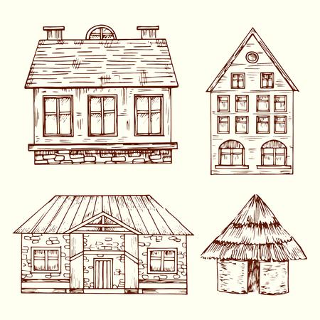 Insieme di vettore di case disegnate a mano in stile diverso. Casa con tetto e finestra, illustrazione della casa della costruzione di architettura