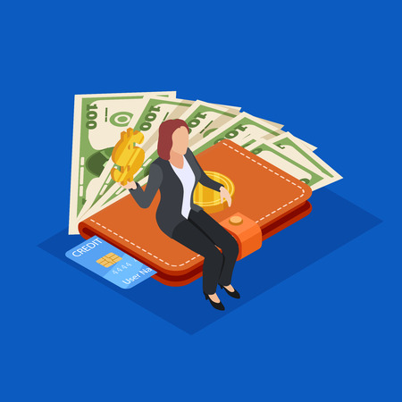 Businesswoman sitting on purse with money and credit card. Saving money isometric vector concept. Illustration of wallet with money and credit card
