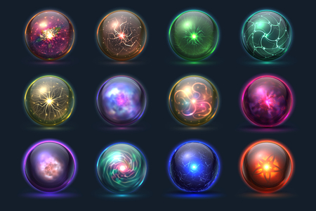 Magical crystal orbs. Glowing magic balls, mysterious paranormal wizard spheres. Vector set of crystal orb and ball sphere illustration Stock Photo