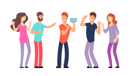 Friends laughing. People laughing together. Friendly fun conversation and joke vector concept. Illustration of friendship laughing, group together people man and woman