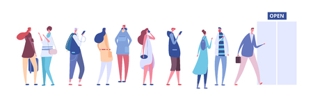 People in queue. Men and women in casual clothes, persons in line outside open store door. Vector concept queue row people, illustration of woman and man line Çizim