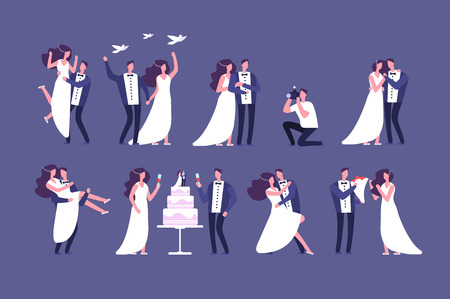Wedding couples. Bride and groom on marriage ceremony. Getting married people characters isolated set. Couple wedding, groom and bride, romantic together illustration