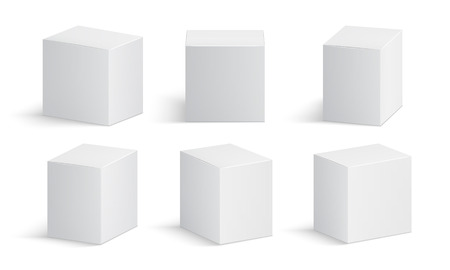Boîte blanche. Paquet de médecine vierge. Boîtes en carton de produits médicaux maquette isolée de vecteur 3d. Illustration de la boîte d'emballage de maquette de produit Vecteurs