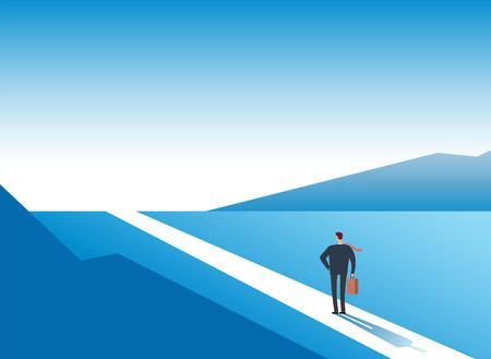 New way concept. Beginning journey adventures and opportunities. Businessman on road outdoor. Business vector background. Businessman and new opportunity, future success illustration Vecteurs