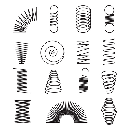 Metal springs. Spiral lines, coil shapes isolated vector symbols. Illustration of spiral and spring flexible line
