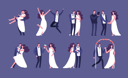 Married couples. Newly wed bride and groom, wedding celebration cartoon characters. Just married happy people vector set. Wife and husband, bridegroom and newlywed illustration