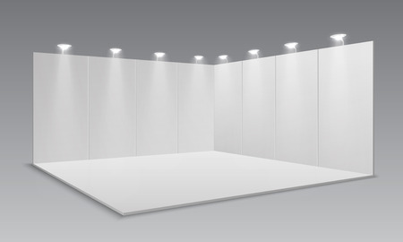 Blank display exhibition stand. White empty panels, promotional advertising stand. Presentation event room 3d template. Vector exhibition and framework, area floor with light lamp illustration