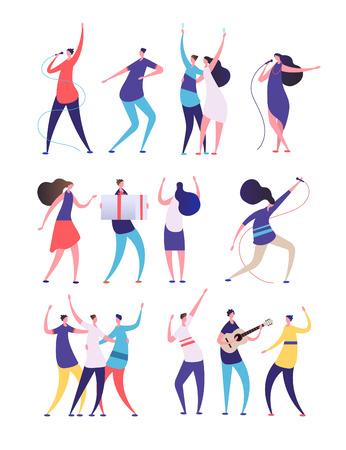 People on birthday party. Cartoon men women sing, dance play guitar, clink glasses. Friends celebrate birthday. Vector characters. Illustration of birthday character with guitar, friends celebrate