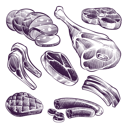 Hand drawn meat. Steak, beef and pork, lamb grill meat and sausage vintage sketch vector illustration. Beef and meat for barbecue, pork steak and beefsteak