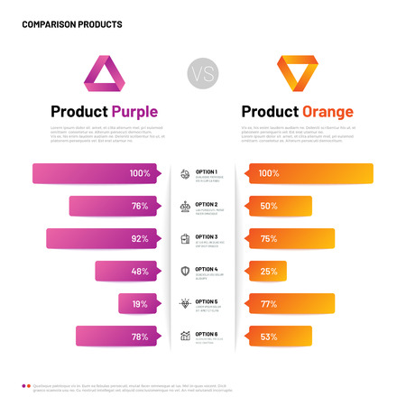 Comparison infographic. Bar graphs with compare description. Comparing infographics table. Choosing product vector versus concept. Illustration of comparison option, infographic choose indicator Imagens