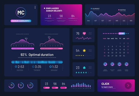 Dashboard infographics. Trading platform with statistics graphs finance charts, calendar. Visualization data analysis vector display. Illustration of analysis data, infographic dashboard