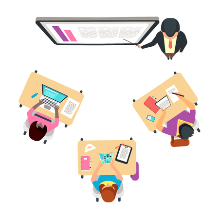 Classroom top view with international students. Adult studying vector concept. Illustration of university or school education and training Vector Illustratie