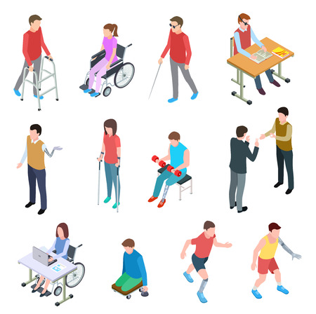 Disabled people isometric. Persons with injury in wheelchair, with prosthetic limbs, blind and elderly people. Vector isolated set. Illustration of people disabled in wheelchair, person prosthetic Illustration