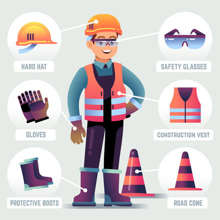Worker with safety equipment. Man wearing helmet, gloves glasses, protective gear. Builder protection clothing PPE vector infographic. Worker safety helmet, equipment for work protection illustration Vetores