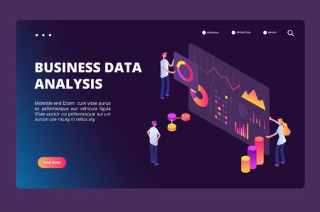 Data optimization isometric concept. Person with analysis analytics chart. Business technology, market positioning vector landing page. Illustratiuon of marketing analytics chart
